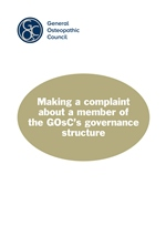 Making a complaint about a member of the GOsC's governance structure