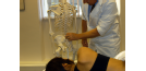 Male osteopath with female and skeleton