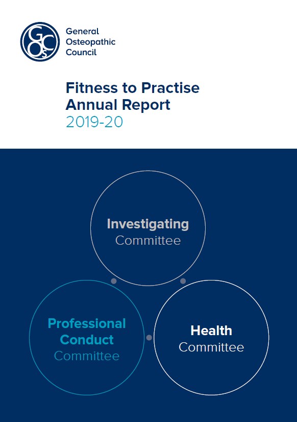 Fitness to Practise Annual Report 2019-2020 front cover